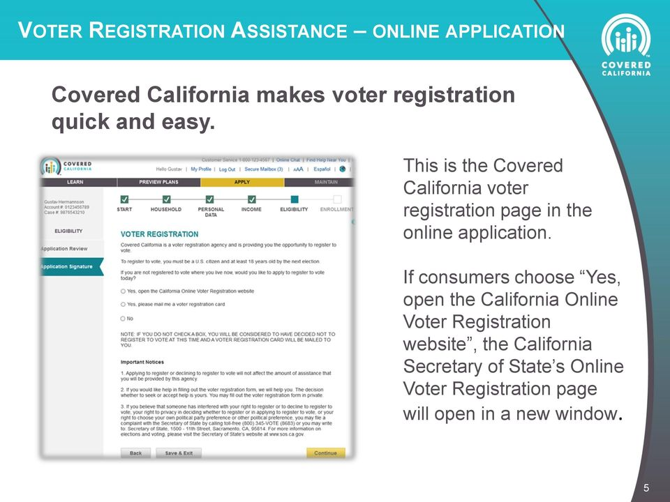 This is the Covered California voter registration page in the online application.