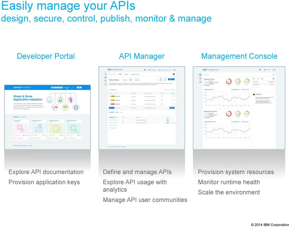 Provision application keys Define and manage APIs Explore API usage with analytics