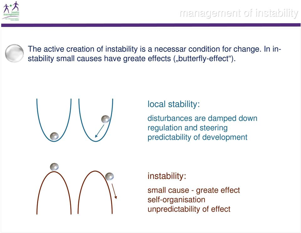 local stability: disturbances are damped down regulation and steering predictability of