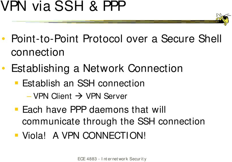 "Establish an SSH connection VPN Client "" VPN Server!"