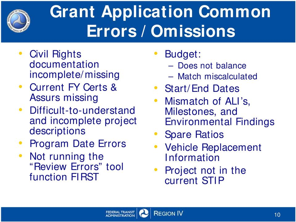 Review Errors tool function FIRST Budget: Does not balance Match miscalculated Start/End Dates Mismatch of ALI