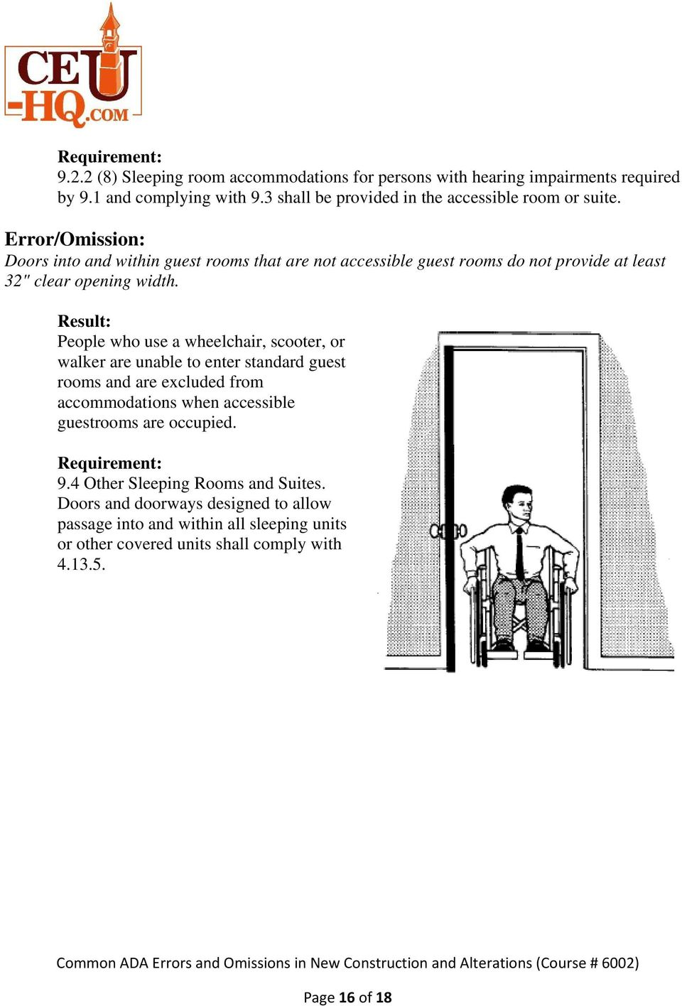"Doors into and within guest rooms that are not accessible guest rooms do not provide at least 32"" clear opening width."