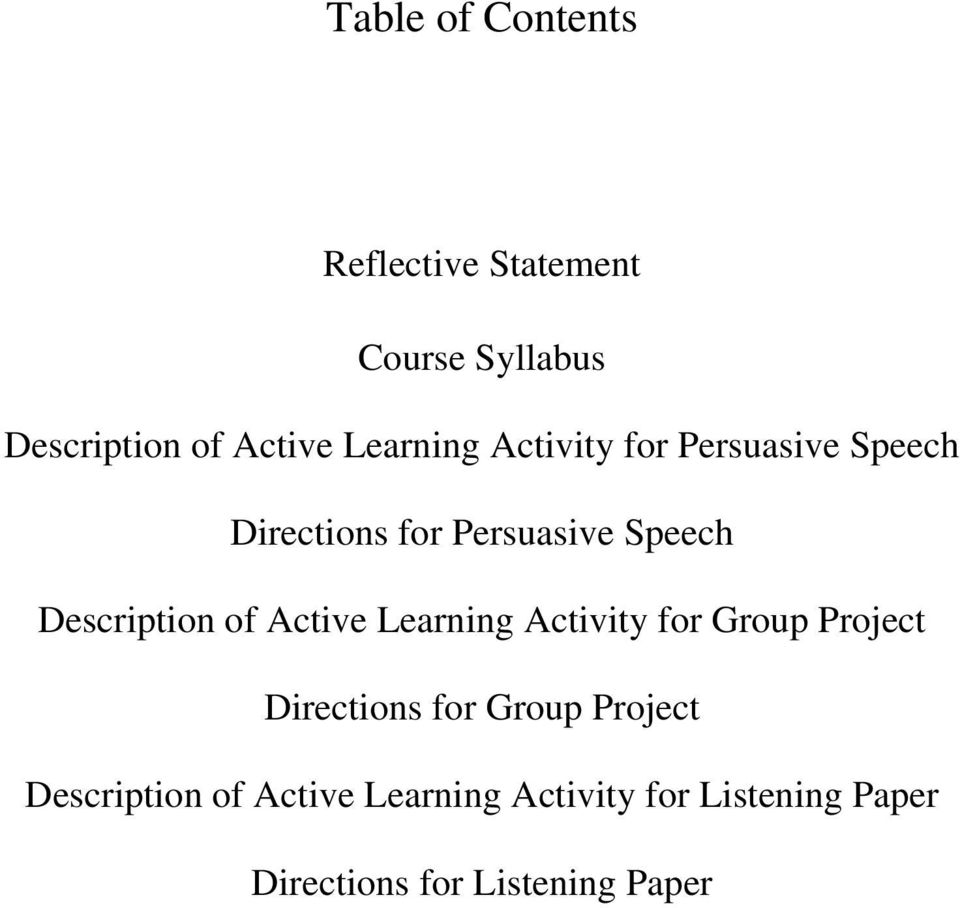 Description of Active Learning Activity for Group Project Directions for Group