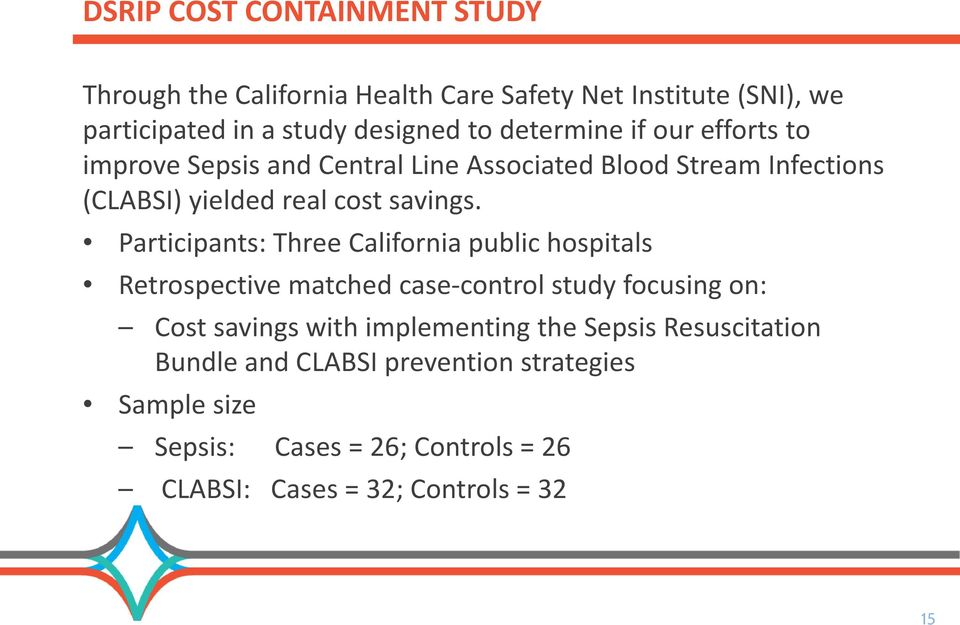 Participants: Three California public hospitals Retrospective matched case-control study focusing on: Cost savings with implementing