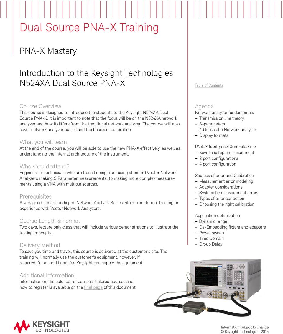 Keysight Technical Training Catalog Pdf Pna X Block Diagram The Course Will Also Cover Network Analyzer Basics And Of Calibration