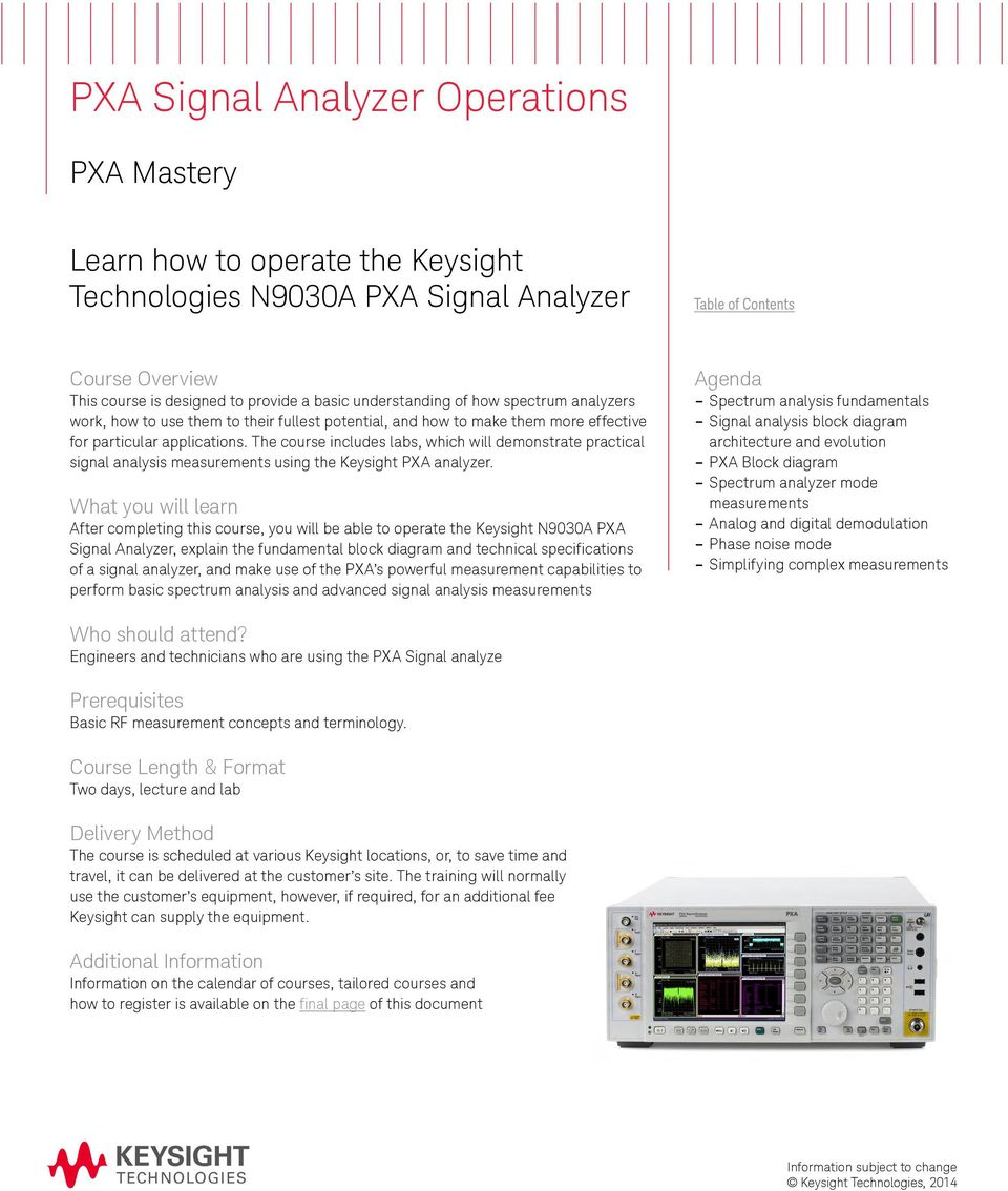 Keysight Technical Training Catalog Pdf Block Diagram In Architecture The Course Includes Labs Which Will Demonstrate Practical Signal Analysis Measurements Using Pxa