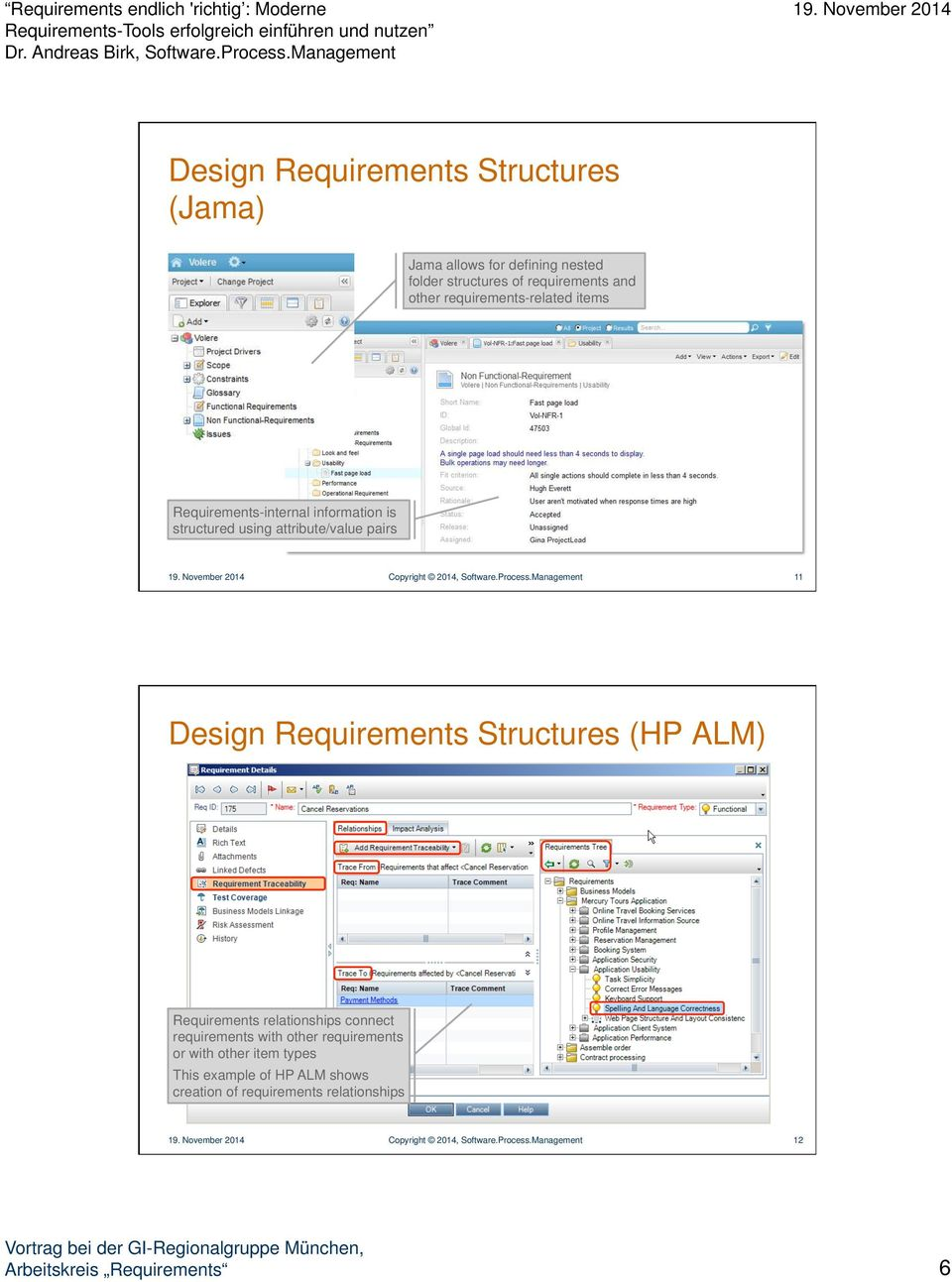 Management 11 Design Requirements Structures (HP ALM) Requirements relationships connect requirements with other requirements or with