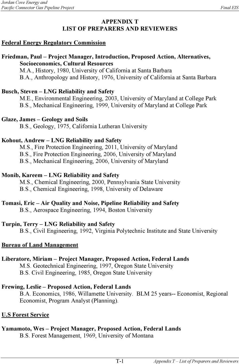 E., Environmental Engineering, 2003, University of Maryland at College Park B.S., Mechanical Engineering, 1999, University of Maryland at College Park Glaze, James Geology and Soils B.S., Geology, 1975, California Lutheran University Kohout, Andrew LNG Reliability and Safety M.