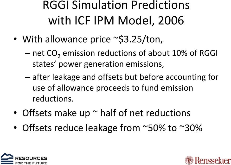 emissions, after leakage and offsets but before accounting for use of allowance proceeds