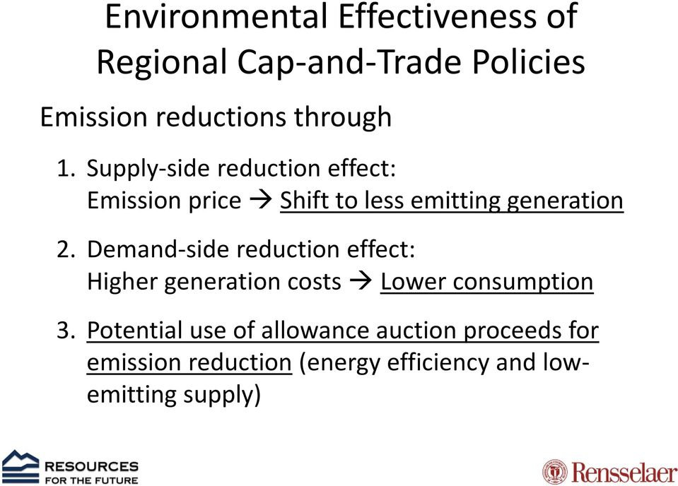 Supply-side reduction effect: Emission price Shift to less emitting generation 2.