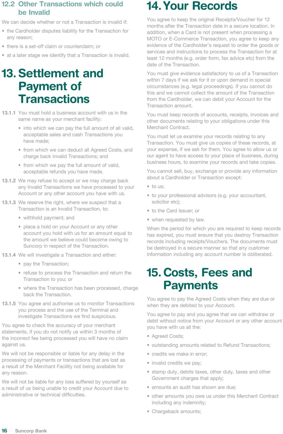 . Settlement and Payment of Transactions 13