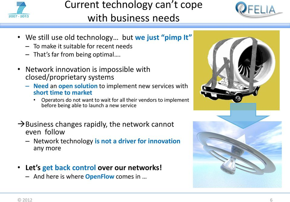 Network innovation is impossible with closed/proprietary systems Need an open solution to implement new services with short time to market Operators do
