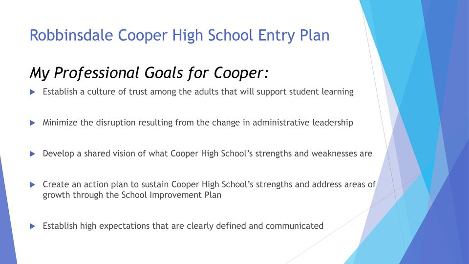 vision of what Cooper High School s strengths and weaknesses are Create an action plan to sustain Cooper High School s strengths
