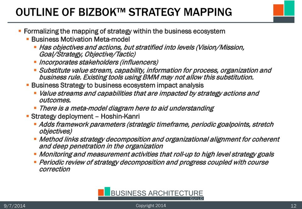 Existing tools using BMM may not allow this substitution. Business Strategy to business ecosystem impact analysis Value streams and capabilities that are impacted by strategy actions and outcomes.