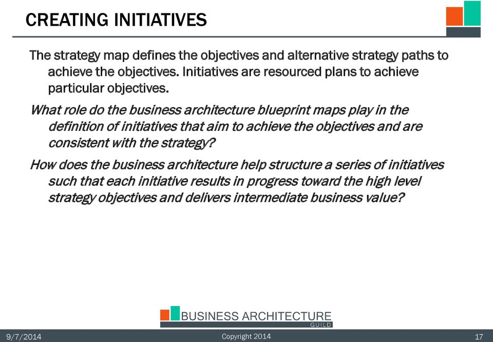 What role do the business architecture blueprint maps play in the definition of initiatives that aim to achieve the objectives and are