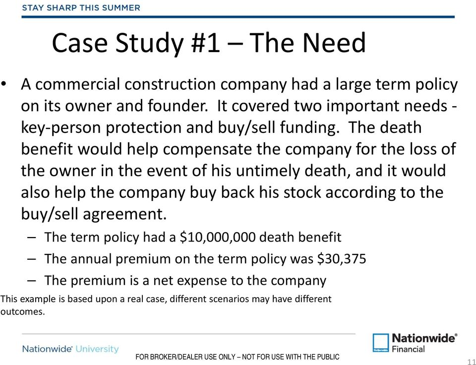 The death benefit would help compensate the company for the loss of the owner in the event of his untimely death, and it would also help the company buy