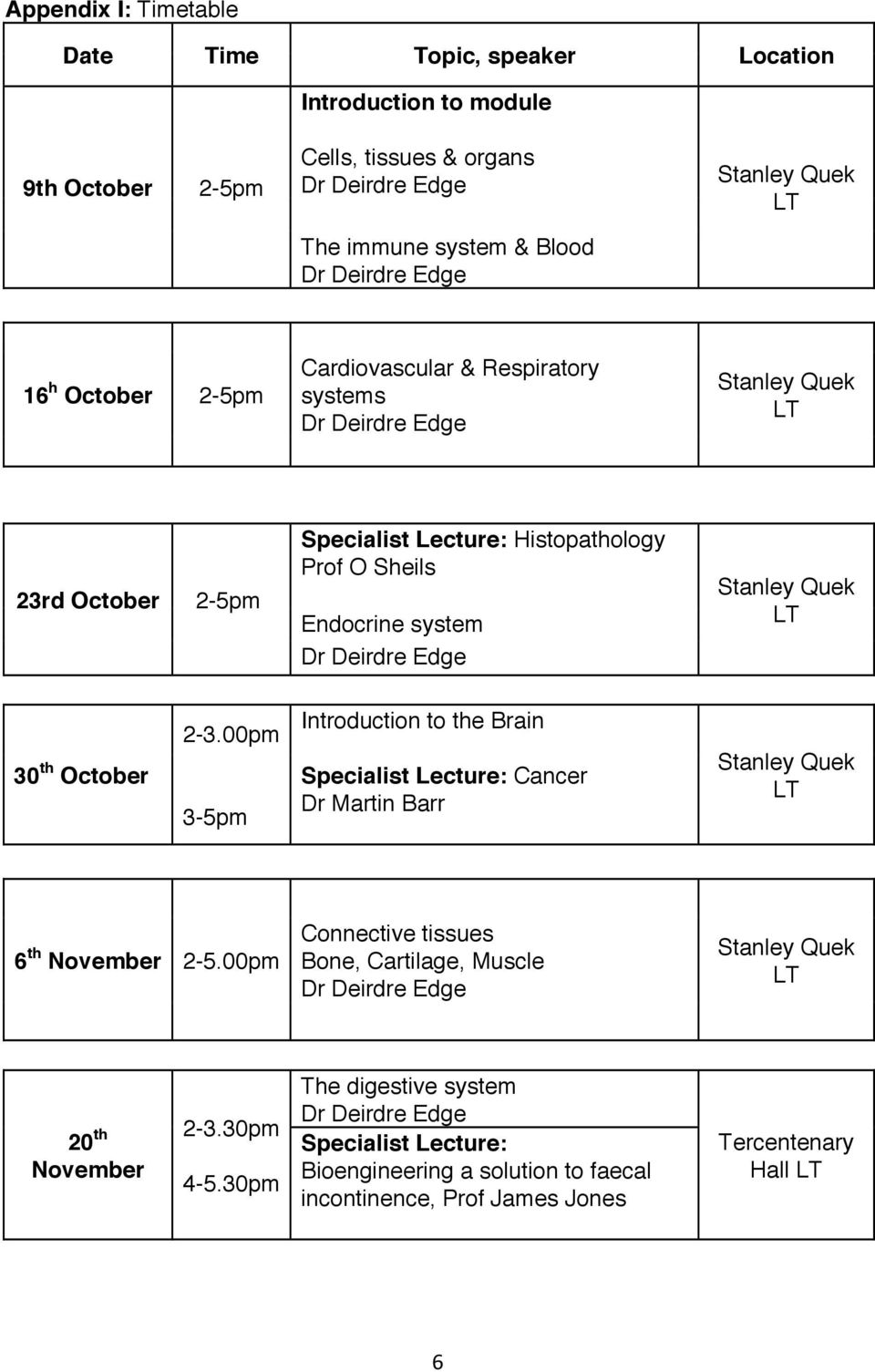 2-3.00pm 3-5pm Introduction to the Brain Specialist Lecture: Cancer Dr Martin Barr 6 th November 2-5.