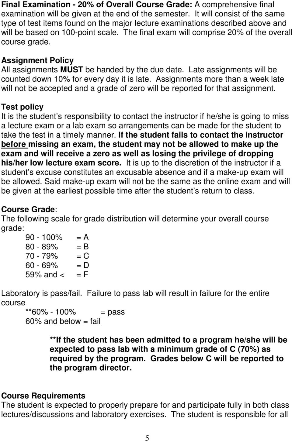 The final exam will comprise 20% of the overall course grade. Assignment Policy All assignments MUST be handed by the due date. Late assignments will be counted down 10% for every day it is late.