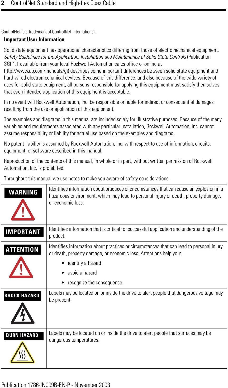 Safety Guidelines for the Application, Installation and Maintenance of Solid State Controls (Publication SGI-1.1 availabl