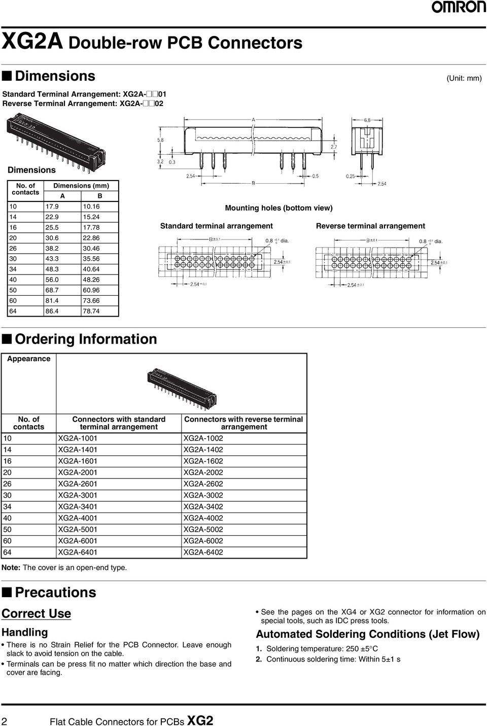 74 Standard terminal arrangement Mounting holes (bottom view) Reverse terminal arrangement 0.8 +0.1 dia. 0 0.8 +0.1 dia. 0 Ordering Information Appearance No.