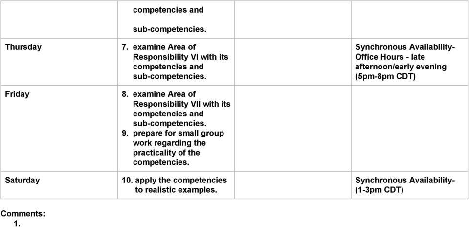 prepare for small group work regarding the practicality of the competencies.