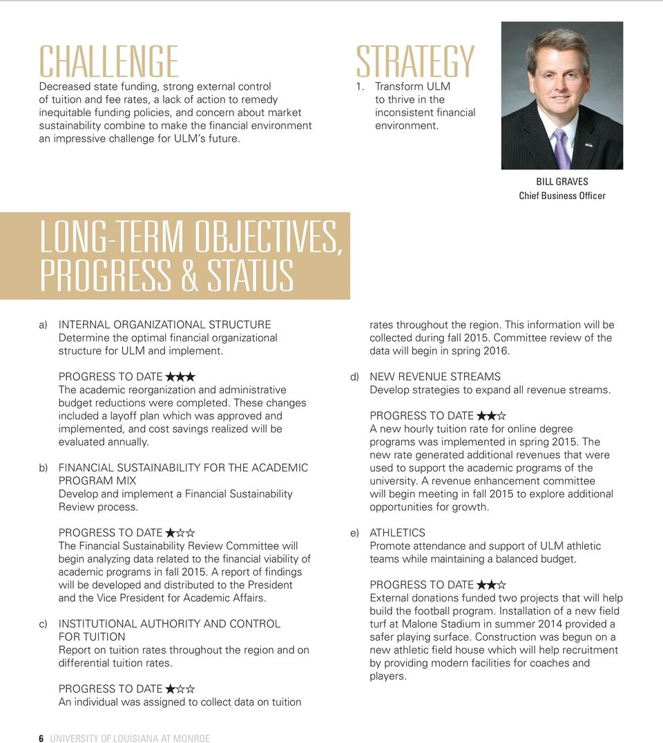BILL GRAVES Chief Business Officer LONG-TERM OBJECTIVES, PROGRESS & STATUS a) INTERNAL ORGANIZATIONAL STRUCTURE Determine the optimal financial organizational structure for ULM and implement.