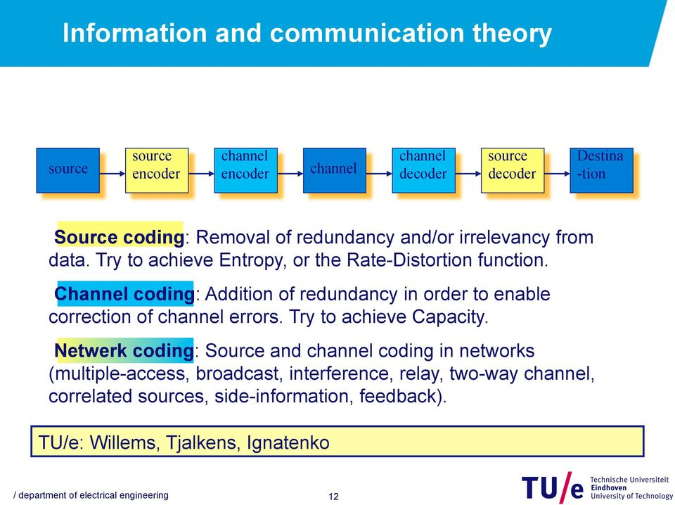 Channel coding: Addition of redundancy in order to enable correction of channel errors. Try to achieve Capacity.