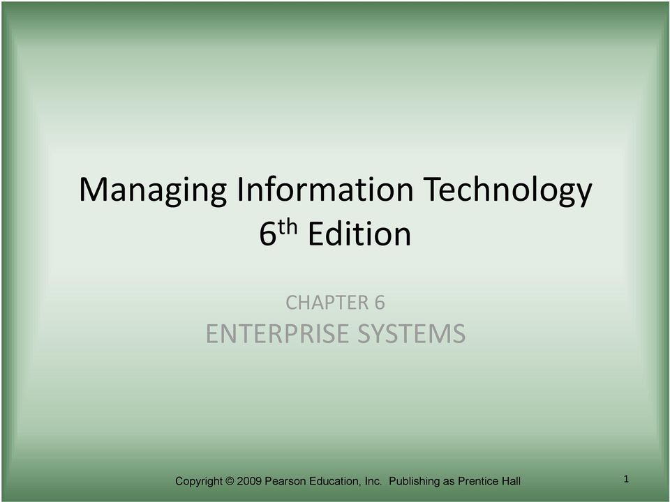 SYSTEMS Copyright 2009 Pearson