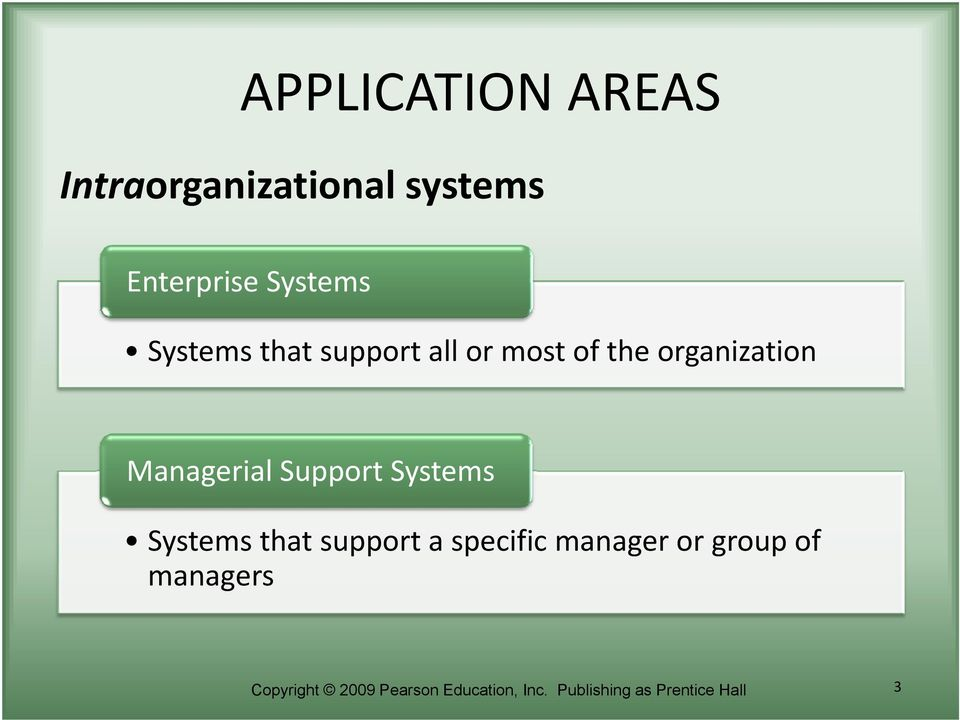 Support Systems Systems that support a specific manager or group of