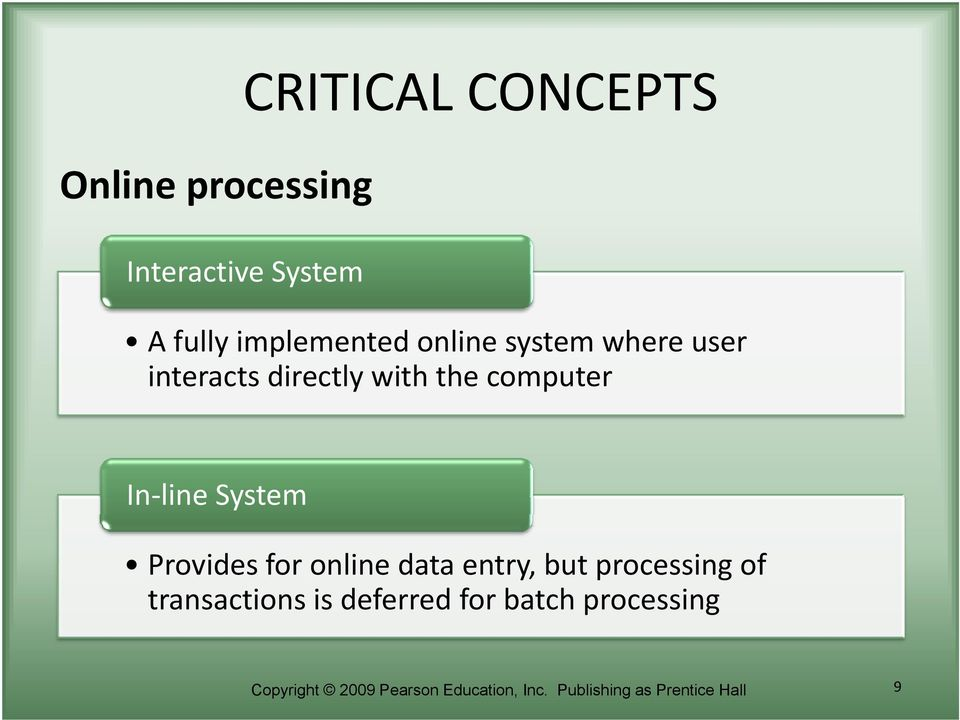 Provides for online data entry, but processing of transactions is deferred for