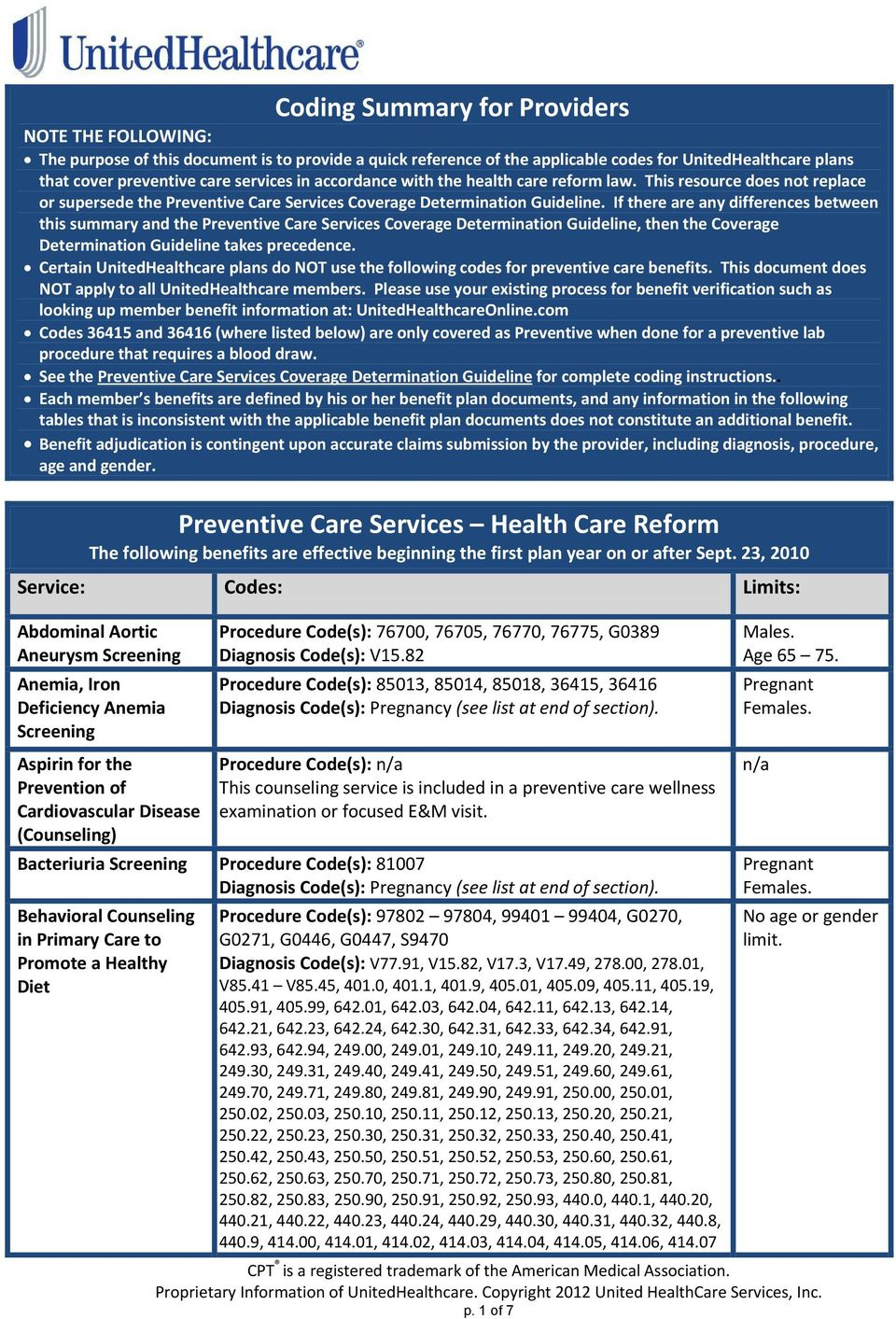 If there are any differences between this summary and the Preventive Care Services Coverage Determination Guideline, then the Coverage Determination Guideline takes precedence.