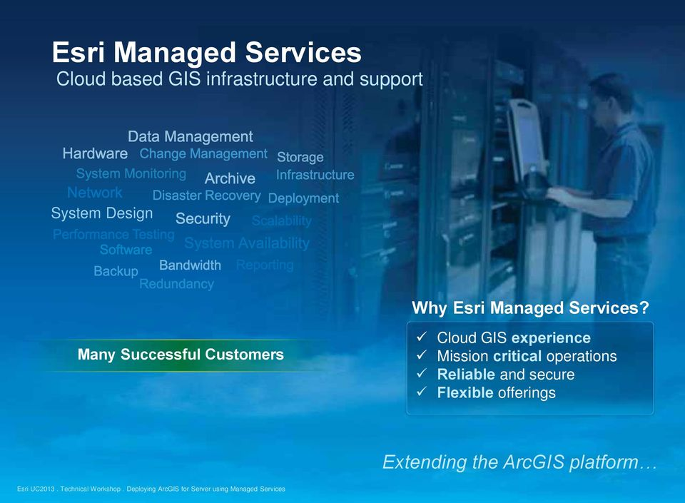 Many Successful Customers Cloud GIS experience Mission critical operations Reliable