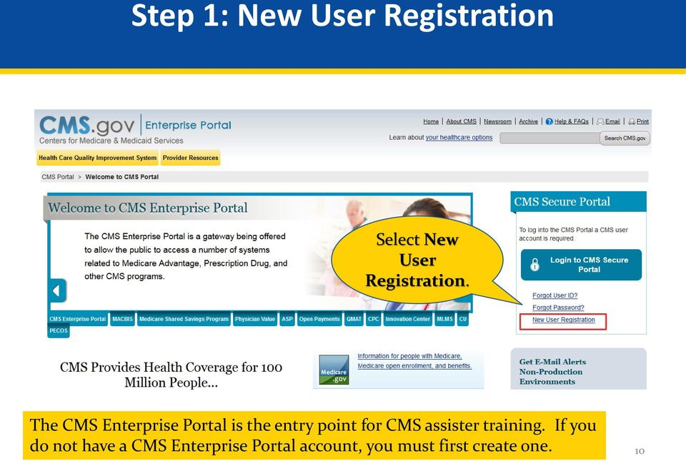The CMS Enterprise Portal is the entry point for CMS