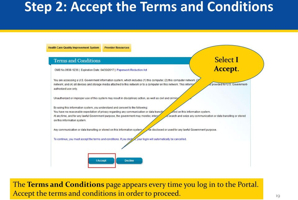 The Terms and Conditions page appears every