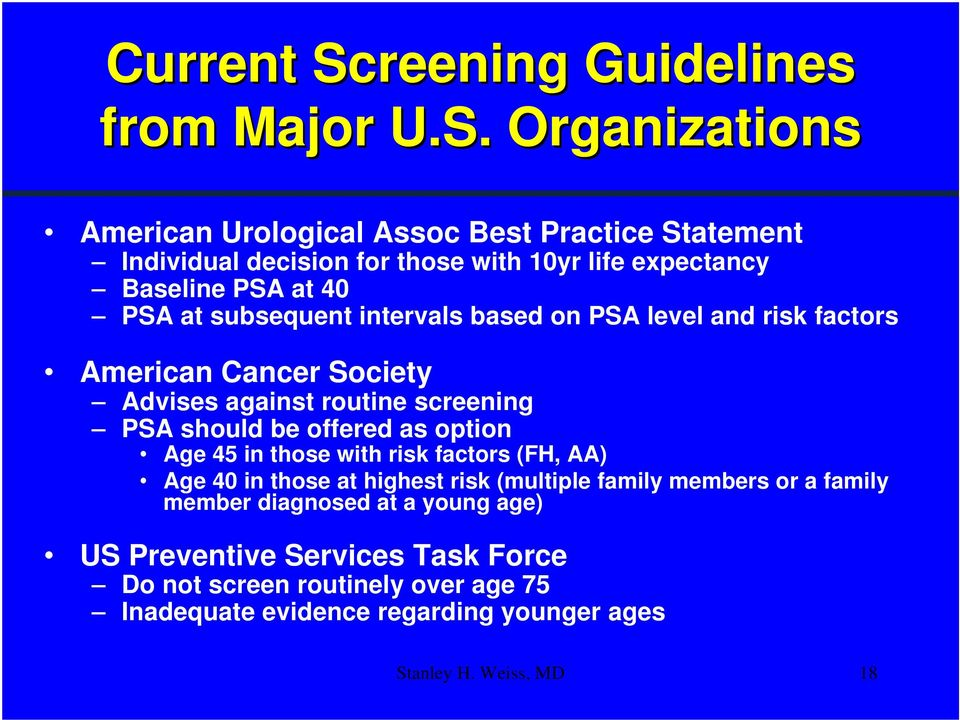 Organizations American Urological Assoc Best Practice Statement Individual decision for those with 10yr life expectancy Baseline PSA at 40 PSA at