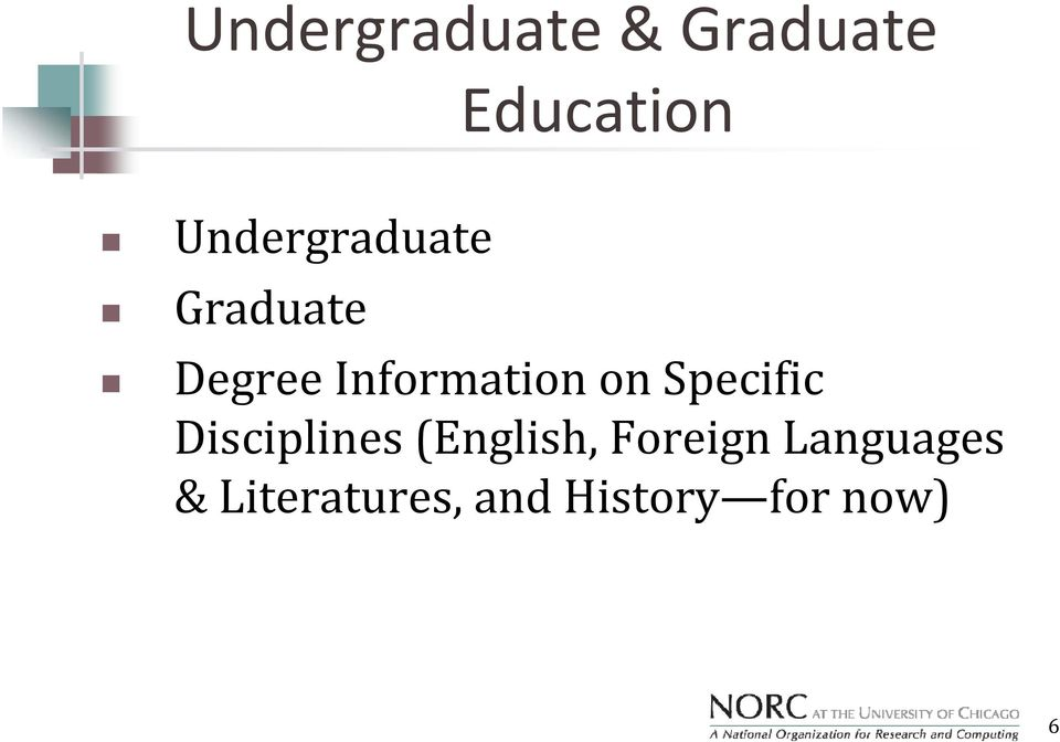 on Specific Disciplines (English, Foreign