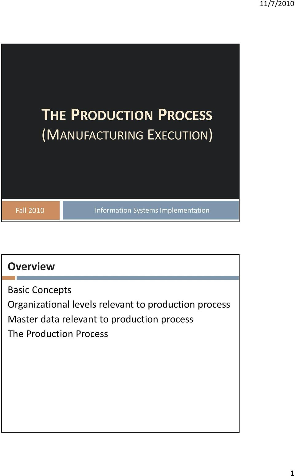 Organizational levels relevant to production process Master
