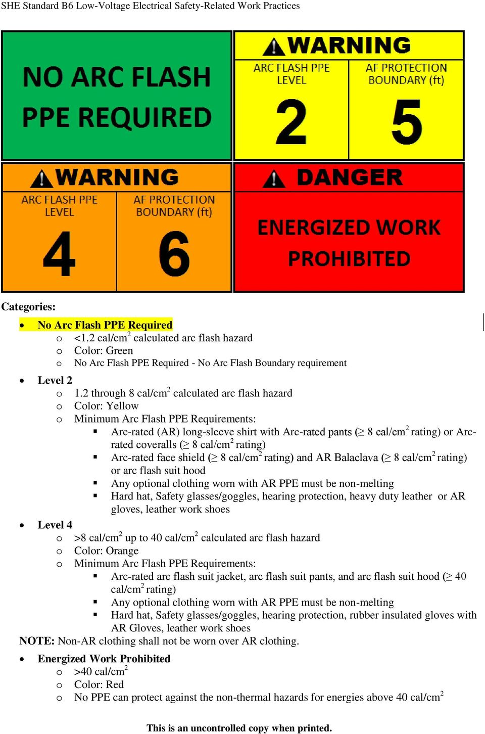 2 through 8 cal/cm 2 calculated arc flash hazard o Color: Yellow o Minimum Arc Flash PPE Requirements: Arc-rated (AR) long-sleeve shirt with Arc-rated pants ( 8 cal/cm 2 rating) or Arcrated coveralls