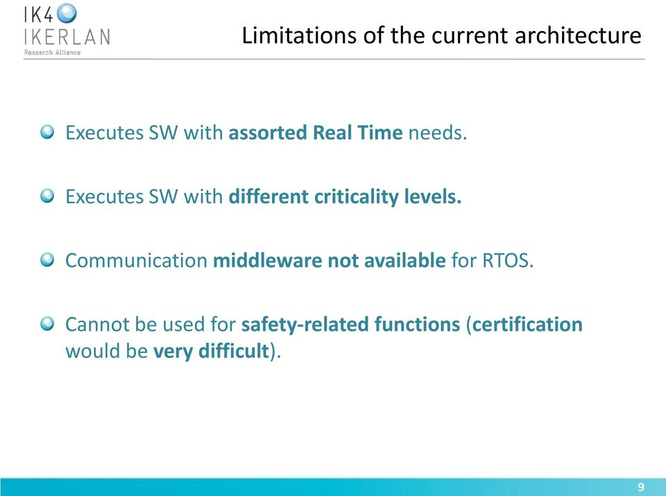 Communication middleware not available for RTOS.