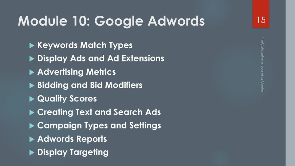 Modifiers u Quality Scores u Creating Text and Search Ads u