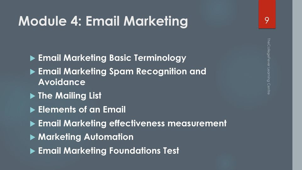 List u Elements of an Email u Email Marketing effectiveness