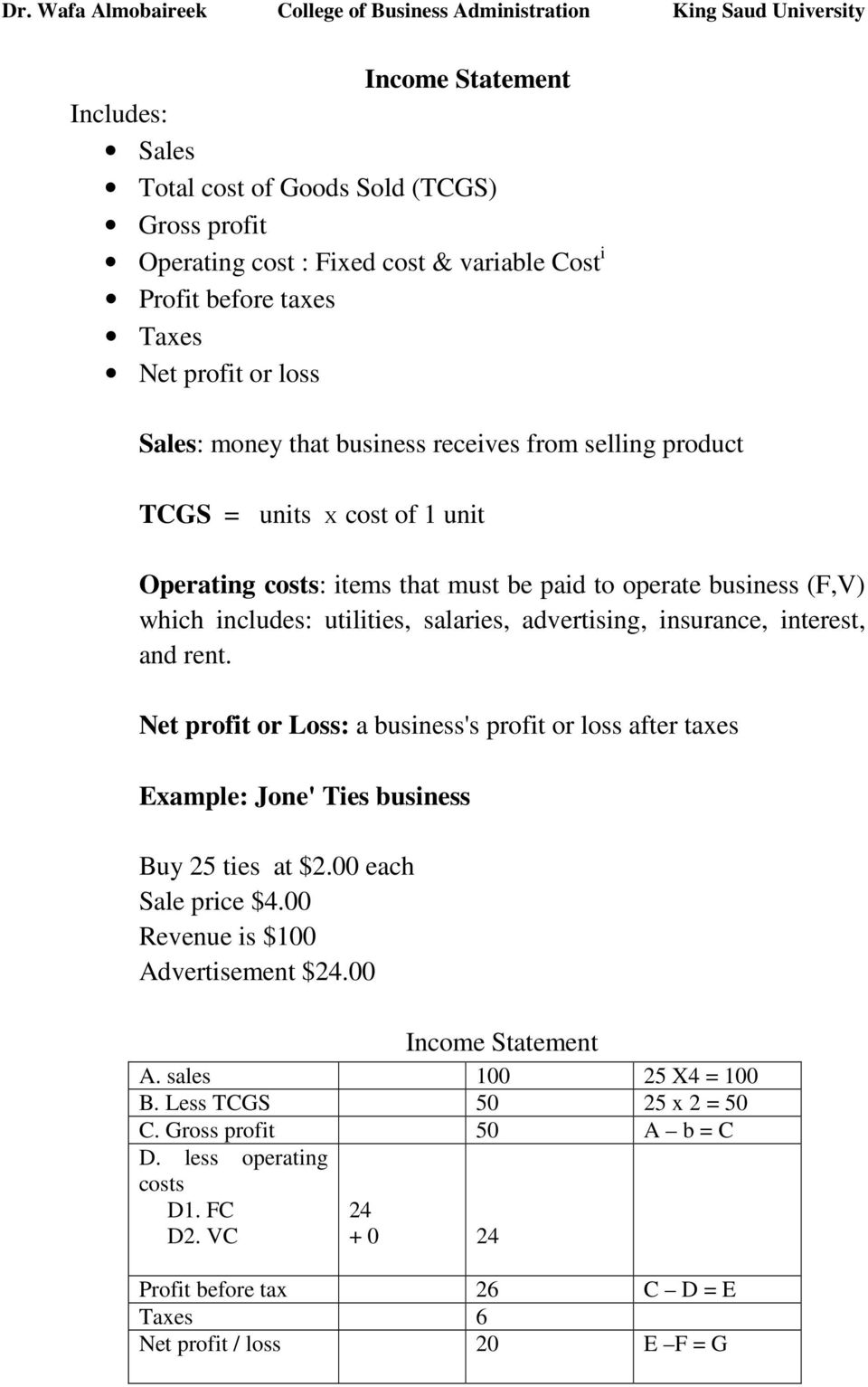 interest, and rent. Net profit or Loss: a business's profit or loss after taxes Example: Jone' Ties business Buy 25 ties at $2.00 each Sale price $4.00 Revenue is $100 Advertisement $24.