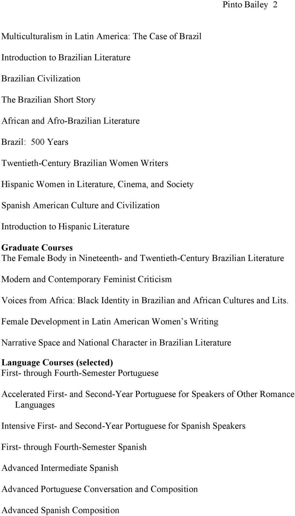 Courses The Female Body in Nineteenth- and Twentieth-Century Brazilian Literature Modern and Contemporary Feminist Criticism Voices from Africa: Black Identity in Brazilian and African Cultures and