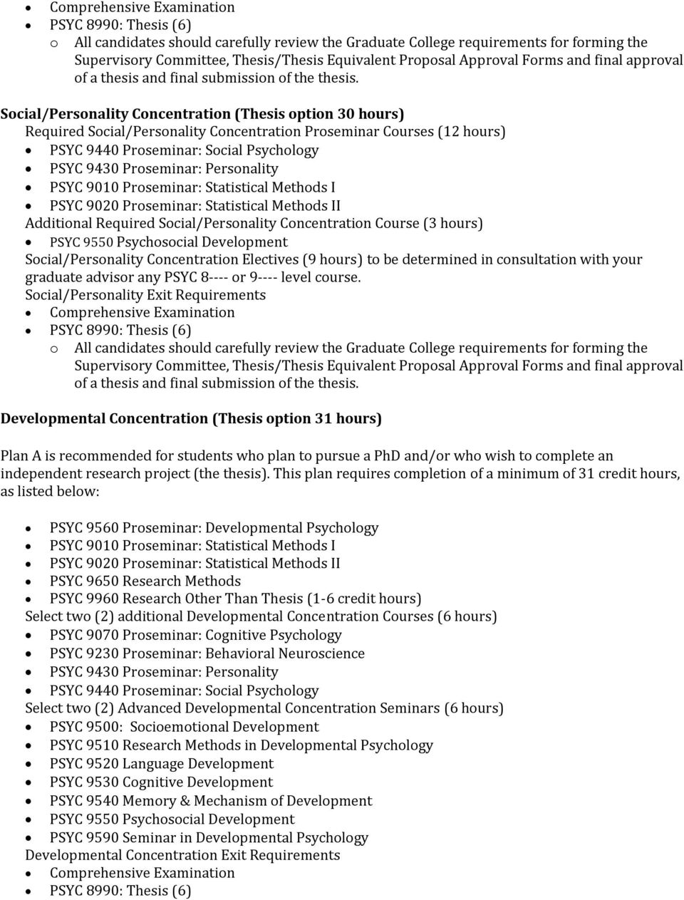 Social/Personality Concentration (Thesis option 30 hours) Required Social/Personality Concentration Proseminar Courses (12 hours) Additional Required Social/Personality Concentration Course (3 hours)