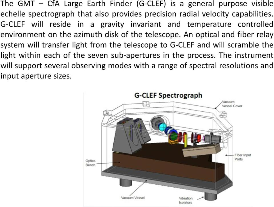 An optical and fiber relay system will transfer light from the telescope to G-CLEF and will scramble the light within each of the seven