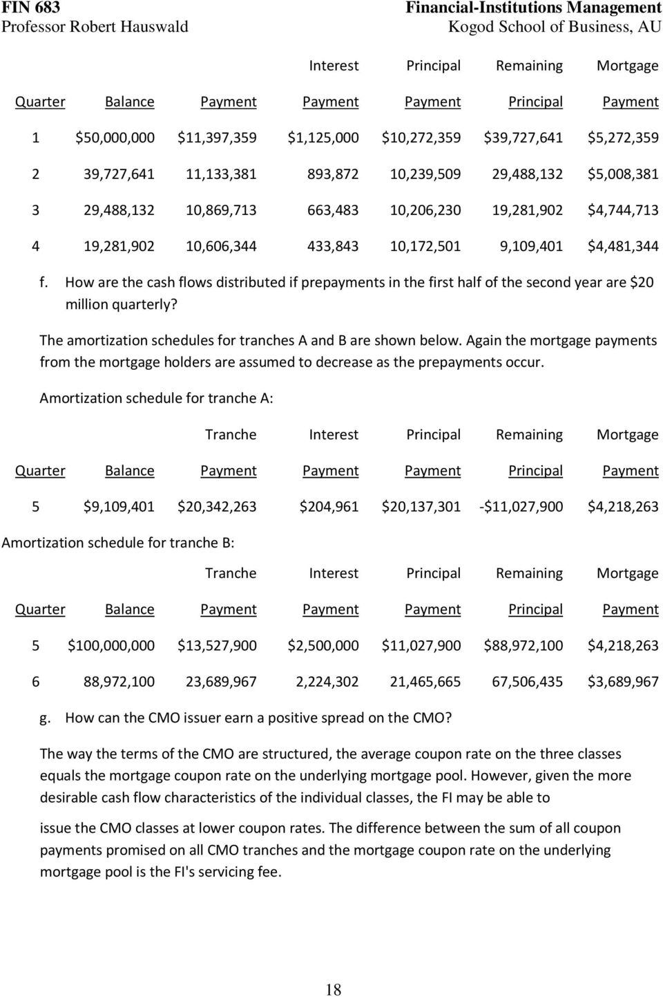 How are the cash flows distributed if prepayments in the first half of the second year are $20 million quarterly? The amortization schedules for tranches A and B are shown below.