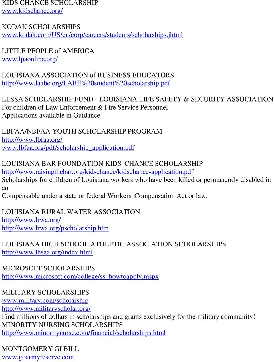pdf LLSSA SCHOLARSHIP FUND - LOUISIANA LIFE SAFETY & SECURITY ASSOCIATION For children of Law Enforcement & Fire Service Personnel Applications available in Guidance LBFAA/NBFAA YOUTH SCHOLARSHIP