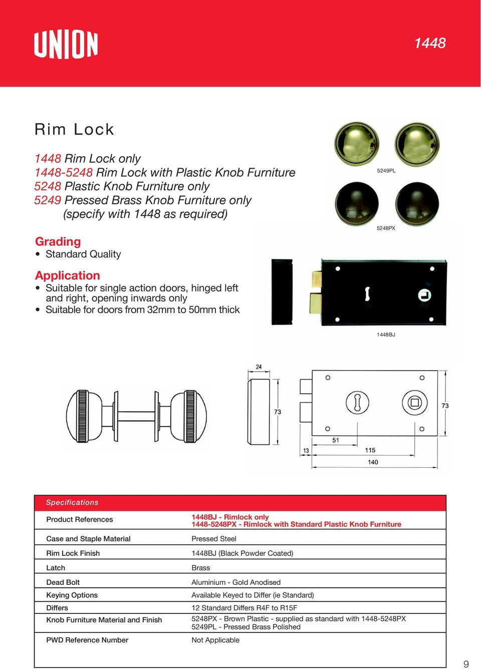 References Case and Staple Material Rim Lock Finish 1448BJ - Rimlock only 1448-5248PX - Rimlock with Standard Plastic Knob Furniture Pressed Steel 1448BJ (Black Powder Coated) Latch Brass Dead Bolt