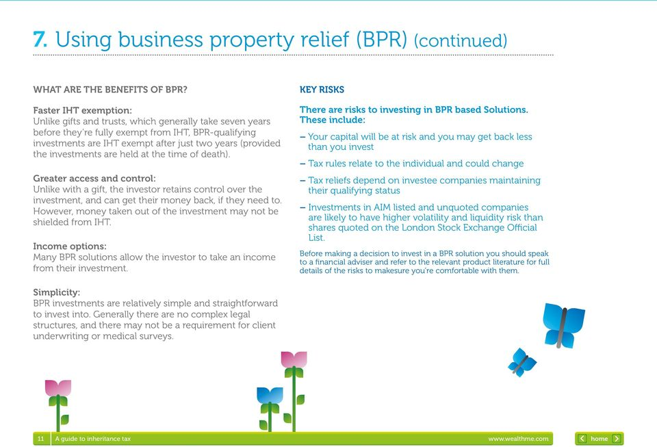 (provided the investments are held at the time of death). There are risks to investing in BPR based Solutions.