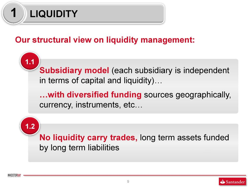 liquidity) with diversified funding sources geographically, currency,